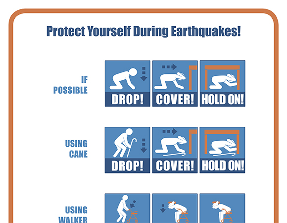 What to do during an earthquake or when you get an earthquake early warning alert: Drop, Cover, and Hold On. (Image/shakeout.org)