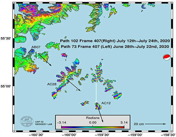 Satellite interferometric phase changes (InSAR) following the M7.8 Simeonof, Alaska, earthquake are shown in the rainbow fringe patterns from a descending Sentinel 1 pass; GPS data are shown as vectors indicating horizontal (black) and vertical (white) co-seismic offsets. AC12 shows the largest permanent deformation with significant uplift of about 33 cm and about 25 cm of horizontal motion. (Analysis and figure prepared by Logan Fusso and Ronni Grapenthin of University of Alaska, Fairbanks. For a detailed discussion of their work see http://www.grapenthin.org/notes/2020_07_24_Simeonof_eq).