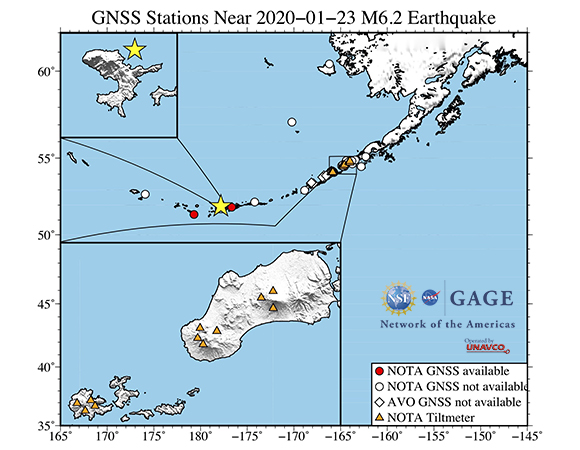 Map showing NOTA GPS/GNSS stations from which UNAVCO is attempting to downloaded high-rate (1-sps and 5-sps) GPS/GNSS and tilt data following the January 23, 2020 M 6.2 earthquake 22 km E of Tanaga Volcano, Alaska. These data will be available for post processing from the UNAVCO high-rate data ftp site. (Figure by Christine Puskas, UNAVCO)