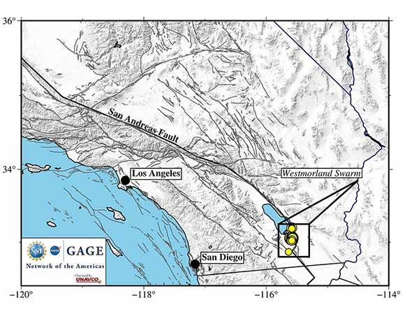Regional map showing the September 30, 2020 to October 3, 2020 Westmorland swarm (yellow dots) in the Imperial Valley south of the Salton Sea, near the California-Mexico border.  The Imperial Valley is a part of the Gulf of California rift zone and has experienced historical seismic swarms associated with the Brawley Seismic Zone. (Figure by Christine Puskas, UNAVCO)