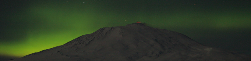 Aurora over Mount Erebus