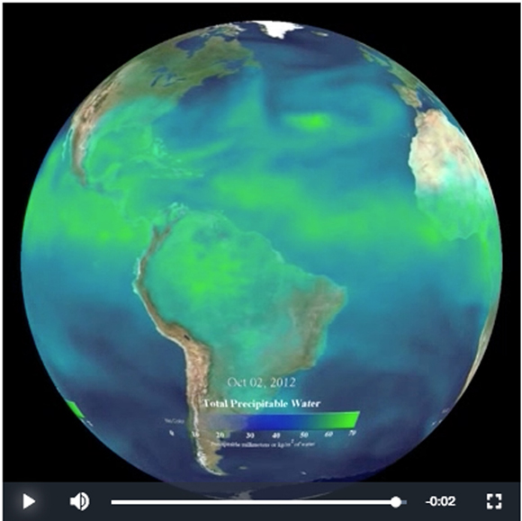 Snapsot of water vapor in the atmosphere from NOAA\'s Science on a Sphere video. See the link below for more information.