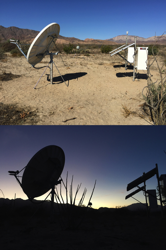 GPS ground-based site, TNBA in Bahia de los Angeles, Baja California. TNBA is part of the TLALOC geodetic network, operated and maintained by UNAVCO with support from the National Science Foundation in in partnership with the National Autonomous University of Mexico. Photographs show the site in full daylight and at sunset. (Background) The GPS antenna is protected by a radome (gray dome) and is stably mounted (4 metal leg mount). (Foreground) The GPS receiver is in the white box enclosure and the satellite dish is for streaming the data to a data center. Photographs by John Galetzka/UNAVCO.