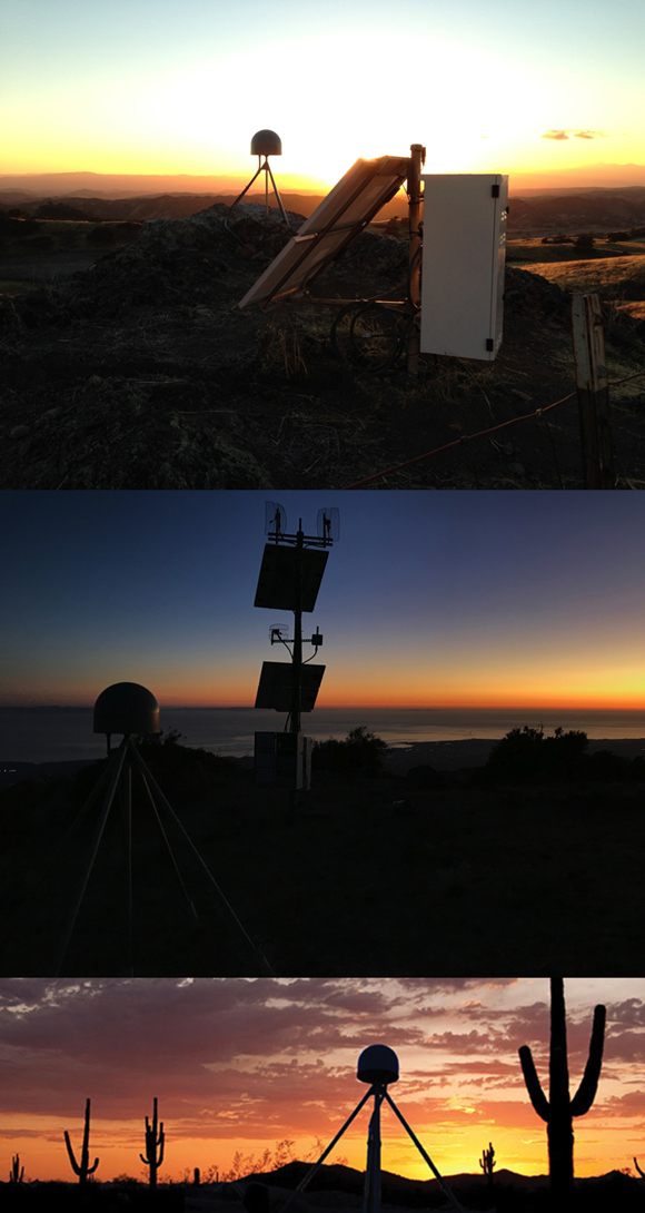 Photo-collage of Plate Boundary Observatory (PBO) GPS sites (PEA1, RCA2 and P014) in California at sunset. UNAVCO operates and maintains these sites for research with support from the National Science Foundation. These sites and thousands of others receive the satellite signals from the mid-Earth orbit navigation satellite systems for precise positioning, timing and for this study, the detection of dark matter. Photograph credits: UNAVCO.