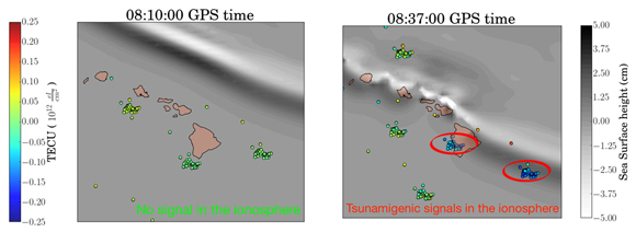 Real-time detection of perturbations of the ionosphere over the Hawaiian Islands, caused by the Oct. 27, 2012, Queen Charlotte Island tsunami off the coast of British Columbia, Canada, using the VARION algorithm. The tsunami was caused by the magnitude 7.8 Haida Gwaii earthquake. Credit: Sapienza University/NASA-JPL/Caltech