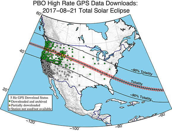 Map of the path of the 21 August 2017 solar eclipse across North America with locations of high-rate ground-based GPS/GNSS stations operated by UNAVCO as part of the Network of the Americas (NOTA). Formerly part of the Plate Boundary Observatory (PBO) a component of EarthScope. Figure courtesy of Christine Puskas/UNAVCO. Support for the network and this work from the National Science Foundation.