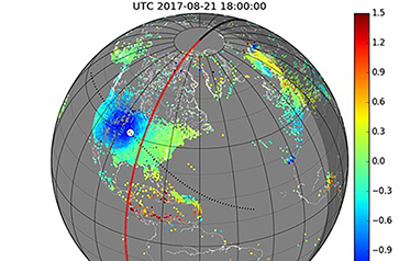 Tracking Interactions of the Sun, the Moon and Earth with GNSS for the 2017 Great American Solar Eclipse
