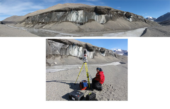 Figure 1: Upper photograph of Ross Sea Ice Cliff in the Garwood Valley, Southern Victoria Land, Antarctica. Garwood River in the foreground and Mount Alexandra with Garwood Glacier in the background. Photograph courtesy of Marianne Okal. Lower photograph shows UNAVCO Field Engineer Marianne Okal preparing the terrestrial laser scanner for imaging of the Ross Sea Ice Cliff. Instrument stands about 1.6 meters high. Photograph courtesy of Joe Levy. Photographs taken on November 15, 2010.