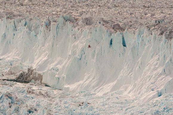 Helicopter near the front of the Helheim glacier in southeast Greenland. Credit: Henrik Egede-Lassen