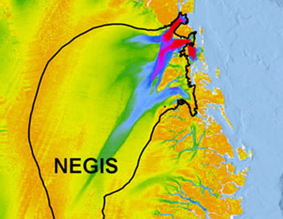 Catchments of the Northeast Greenland Ice Stream (NEGIS), Jakobshavn Isbræ (JI), Helheim Glacier (HG) and Kangerdlugssuaq (KG) draped onto measured ice surface velocities. The NEGIS catchment covers c. 16% of the Greenland Ice Sheet and reaches c. 700 km into the interior. Velocity data are provided by: Joughin, I., B. Smith, I. Howat, and T. Scambos. 2010. MEaSUREs Greenland Ice Sheet Velocity Map from InSAR Data. Boulder, Colorado USA: National Snow and Ice Data Center. Credit: Kristian Kjellerup Kjeldsen, Natural History Museum of Denmark