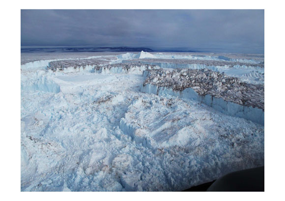 Major outlet glaciers in northeast Greenland disintegration into the ocean. Credit: Finn Bo Madsen