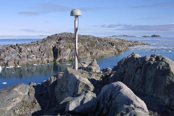 GPS antenna at Palmer station (PALM), Antarctic Peninsula. Credit: UNAVCO/IGS