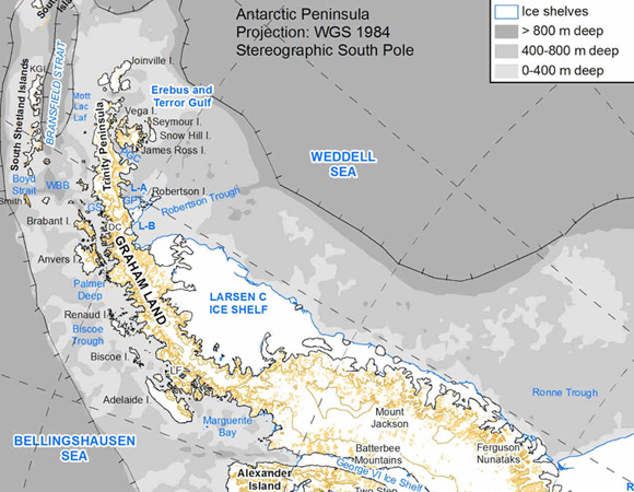 Map of the Antarctic Peninsula, after Davies et al., 2012 (Quaternary Science Reviews) Credit: AntarcticaGlaciers.org