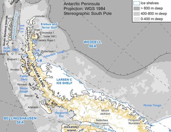 Map of the Antarctic Peninsula, after Davies et al., 2012 (Quaternary Science Reviews) Credit: AntarcticaGlaciers.org