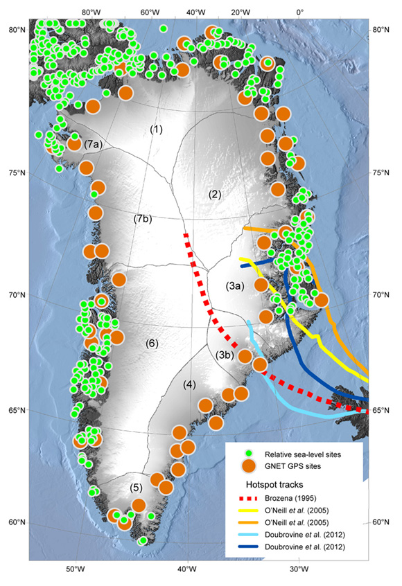 Locations of the GNET GPS stations (orange dots) and relative sea level observations (green dots). Black curves denote the major drainage basins numbered from 1 to 7; drainage 3 is separated into subbasins 3A and 3B, the latter representing the near field of the KUAQ glacier. The red-dotted, yellow, orange, light blue and dark blue curves show a reconstruction of the Iceland hot spot track based on the different publications listed in the key. Bathymetry is shown over the ocean and surface elevation is shown over the land/ice. Figure courtesy of Anders Bjork.