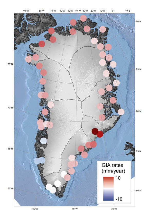 Inferred glacial isostatic adjustment (GIA) vertical displacement rates at GNET GPS sites in Greenland. Black curves denote major drainage basins. Bathymetry is shown over the ocean and surface elevation is shown over the land/ice. Figure courtesy of Anders Bjork.