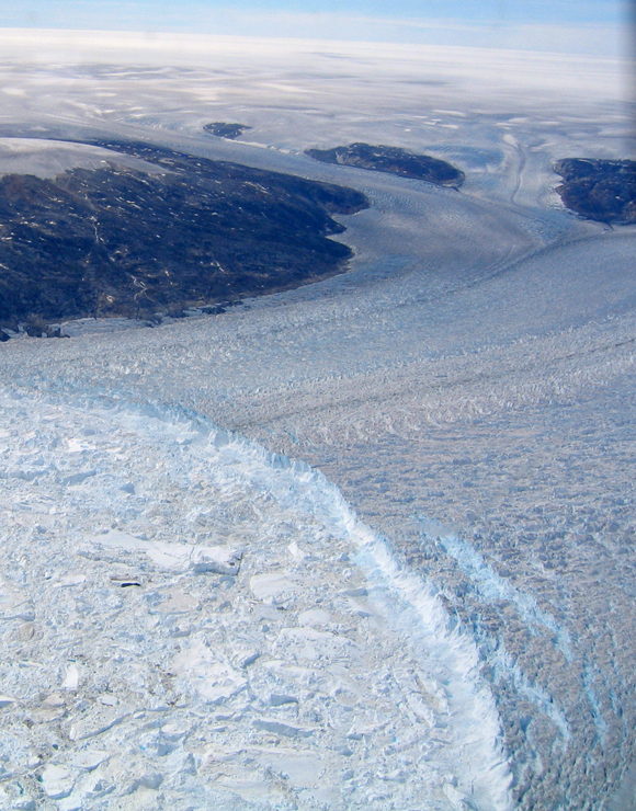 Aerial view of the marine terminus of Helheim Glacier in Greenland. Photo taken by Tavi Murray.