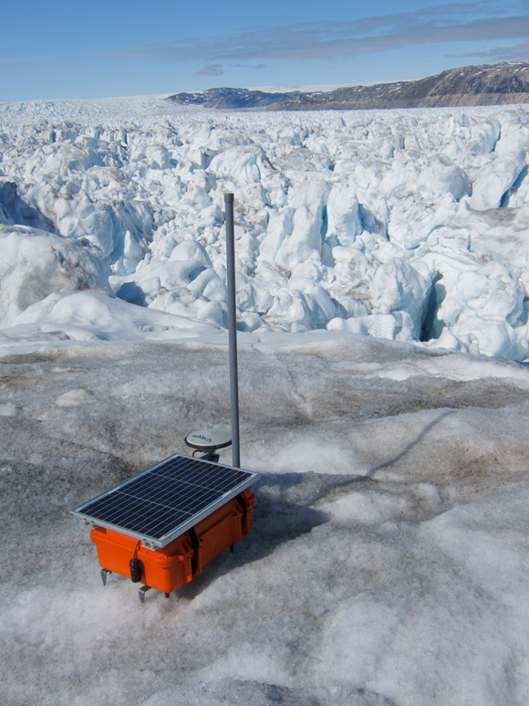 Temporary GPS system deployed on Helheim Glacier in Greenland. Photo taken by Tavi Murray.