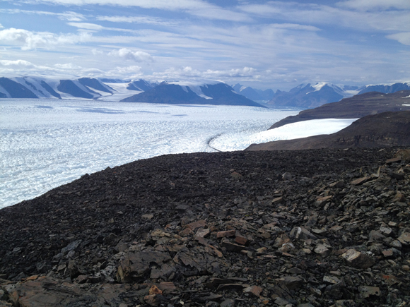 View of Rink Glacier, Greenland from GNET GNSS site, RINK. Photograph courtesy of UNAVCO.
