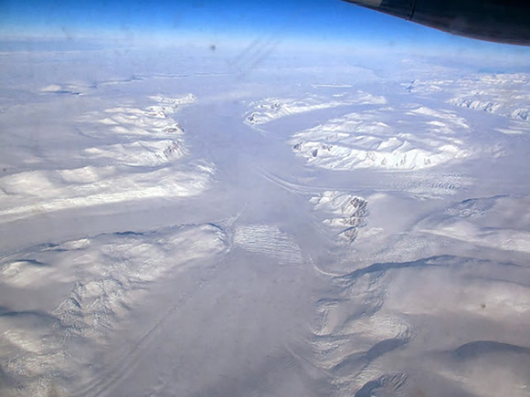 Aerial view of Whillans Ice Streams in Antarctica. Photograph taken by Carolyn Begeman, December 2013, UCSC Glaciology Blog.