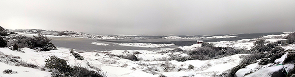 Photograph of the bay in the winter of 2016 showing some sea ice formation. The photograph is courtesy of the author, J. Strandberg.