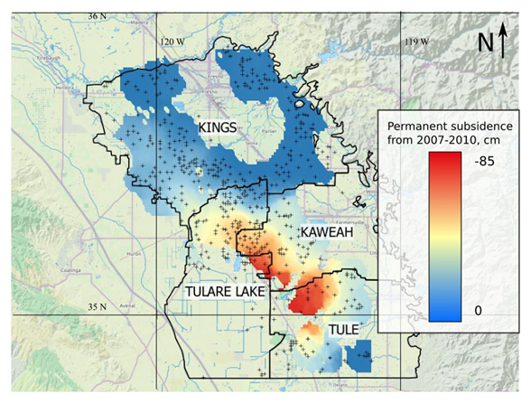 Map showing permanent subsidence in the San Joaquin Valley of California. Scale bar to the right shows the amount of subsidence. The crosses denote well water measurements. The map is courtesy of the author, Ryan G. Smith.