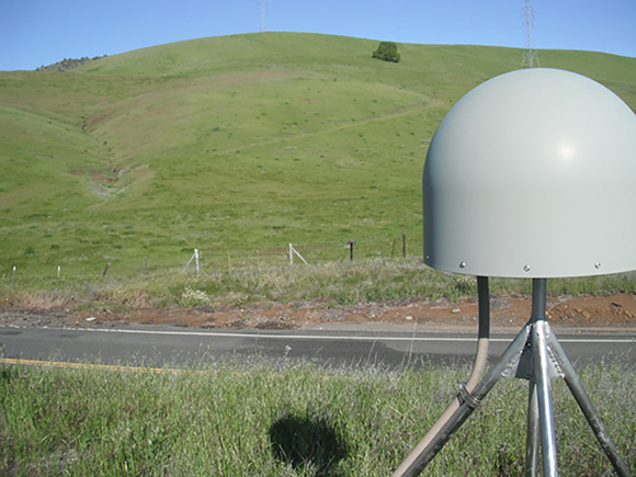 Photograph of Plate Boundary Observatory GPS site, P208, near Salt Canyon, CA, in April 2012, before the dry season for California's Central Valley begins. Photograph is courtesy of the GPS Spotlight: Vegetation Studies in Northern California.