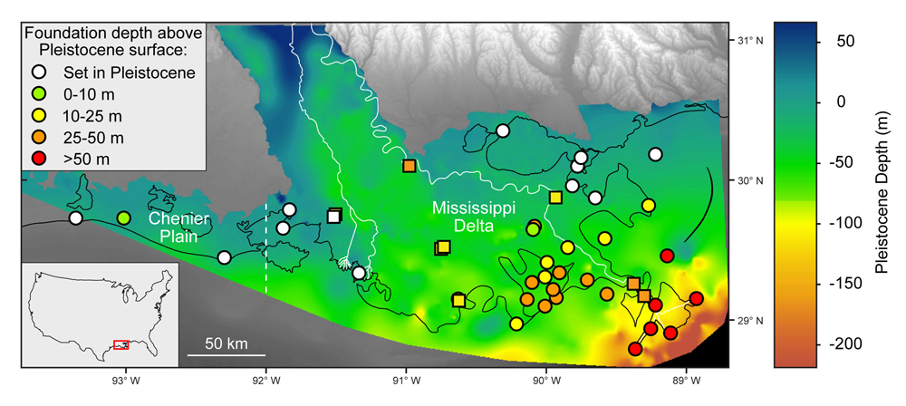 Elevation of the Pleistocene surface in coastal Louisiana, with respect to NAVD 88, which approximates the depth of the Pleistocene surface beneath the land surface given land surface elevations close to mean sea level. Circles and squares indicate tide gauge and GNSS station locations, respectively, and are color coded according to foundation height above the Pleistocene surface. Note that two GNSS stations, ENG1 and ENG2, have the same coordinates and the same foundation depth and plot on top of one another. The dashed white line, located at longitude 92W, divides the Mississippi Delta from the Chenier Plain. Solid white lines show the Mississippi and Atchafalaya rivers. Black lines indicate shorelines. Pleistocene depth information is from Heinrich et al., 2015. Figure is courtesy of the author, M. Keogh.