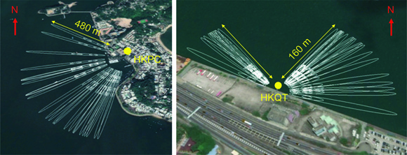 Locations of the two GNSS stations HKPC and HKQT, yellow dots, and the corresponding reflection areas, white ellipses, which were approximated by the first Fresnel zone for a reflector height of 20 meters and 6 meters for HKPC and HKQT, respectively. The white ellipses for each satellite track are the sensing zones for GPS observations for elevation angles 3 degrees, longest ellipse, 5 degrees, second ellipse, and 7 degrees, shortest ellipse, for HKPC, and for elevation angles 4 degrees, longest figures were made using Google Earth. Figure is courtesy of the author, D. Peng.