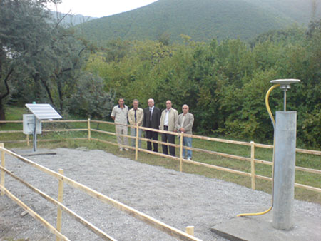 Photograph of GPS station in Sheki, Azerbaijan on the grounds of the Sheki Astrophysical Observatory. The station is near the southern edge of the Great Caucasus Mountains. People from right to left are Fakhraddin Kadirov, Vusal Mammadov, Azer Qadirov, Robert Reilinger and Samir Mammadov. Photograph courtesy of Robert Reilinger. Photograph taken in September 2008.
