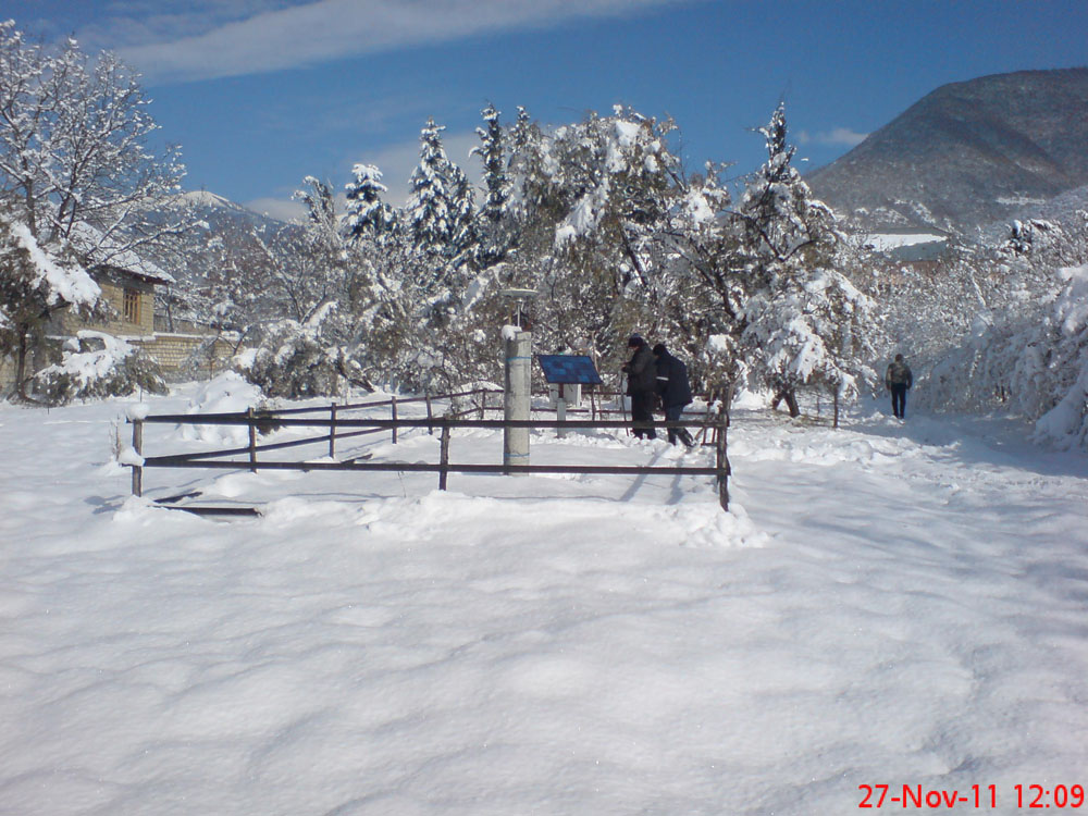 Photograph of GPS station in Sheki, Azerbaijan on the grounds of the Sheki Astrophysical Observatory. The station is near the southern edge of the Great Caucasus Mountains. Photograph courtesy of Fakhraddin Kadirov. Photograph taken on 27 November 2011