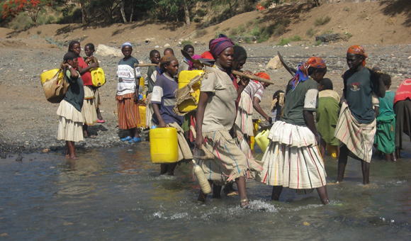 Water usage in Ethiopia. Credit: Rebecca Bendick.