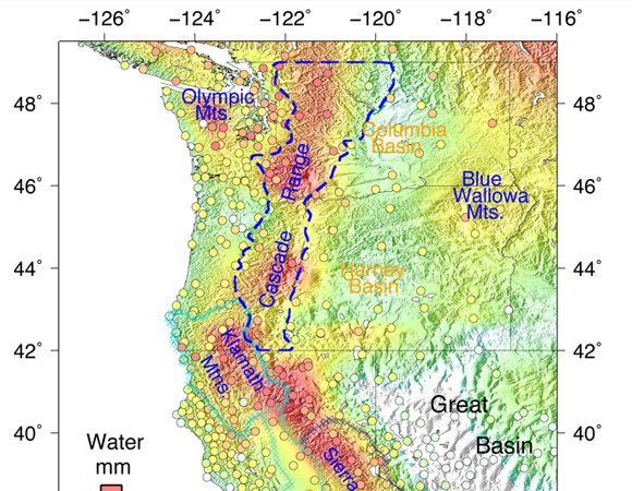 Seasonal water storage variations from October to April in Washington, Oregon and California inferred from GPS multiyear averaged vertical seasonal loading deformation. The circles indicate GPS locations and seasonal displacement. Different physiographic provinces are also labeled for comparison. Credit: Yuning Fu, Donald F. Argus, and Felix W. Landerer.