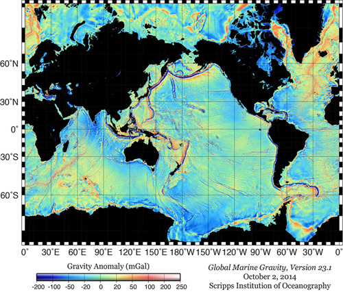 Global Map of Marine Gravity. Version 23.1 Graphic courtesy of David Sandwell, Scripps Institution of Oceanography.