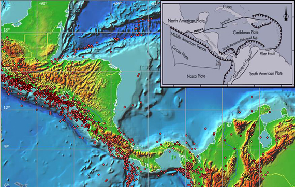 Seismicity and tectonic setting of Central America. Dots indicate earthquakes larger than magnitude 5.0 at shallow (red), intermediate (yellow) and deep (green) depths. PMCHFS is the Polochic–Motagua–Chamalecon Fault System and PFZ is the Panama Fracture Zone. Inset is from Fernandez (2013). Figure courtesy of Conrad Lindholm.