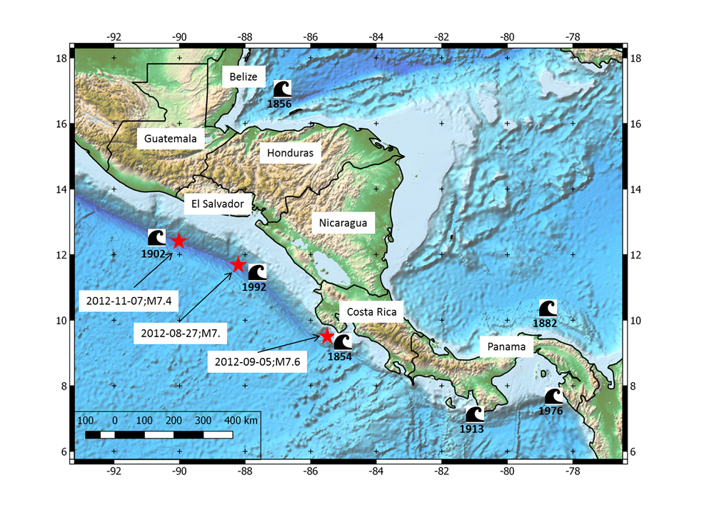 Major historical and destructive tsunamis of Central America, which were generated by earthquakes. The 2012 extraordinary sequence of tsunami-generating earthquakes are indicated with dates and magnitudes. For each of these events a tsunami warning was issued. Figure courtesy of Conrad Lindholm.