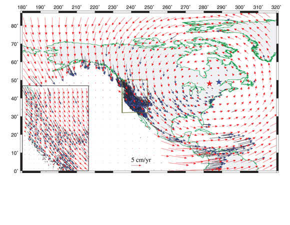 Model velocity vectors (red arrows) from our global dynamic model plotted along with GPS vectors (11) (blue arrows) over North America in a Pacific fixed reference frame. A zoom-in view of the western U.S. region is shown in the inset map. Poles predicted by the dynamic model (red star) and the MORVEL plate-motion model (13) (blue star) are shown for PAC-NAM relative motion. (Ghosh and Holt, 2012).