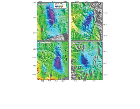 Images of ground subsidence (up to 15 cm) at 5 volcanoes in southern Chile observed by satellite radar.  Names of the subsiding volcanoes are in the upper left corner of each image and the radar data comes from the Japanese Aerospace Exploration Agency. Figure courtesy of Matthew Pritchard.