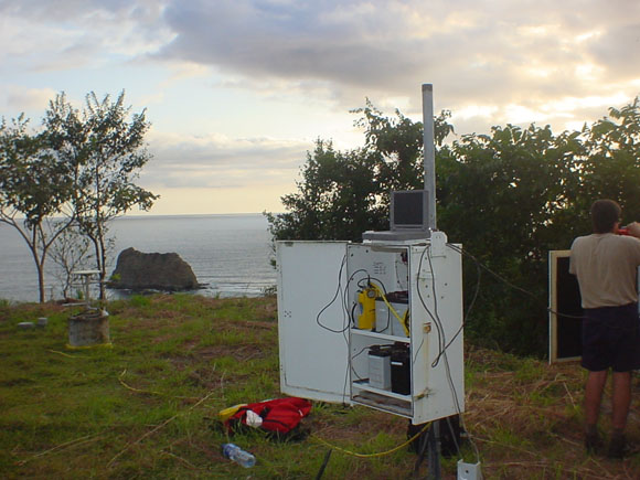 GPS monument on Nicoya Peninsula.  The monument is a deep concrete column drilled into solid rock at site Punta Indio (IND1), directly above the rupture zone. Photograph courtesy of Marino Protti.