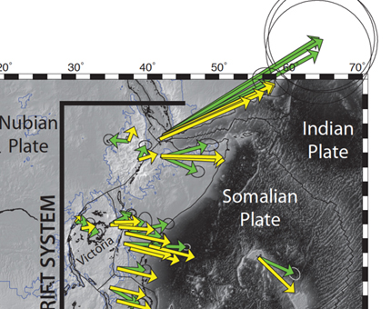 Tectonic setting of the East African Rift System. GPS data in a Nubia-fixed reference frame shown as green vectors with 95% uncertainty ellipses. Yellow vectors represent calculated velocities from the continuous strain rate and velocity model of Stamps et al. (2014). Graphic courtesy of D. Sarah Stamps.