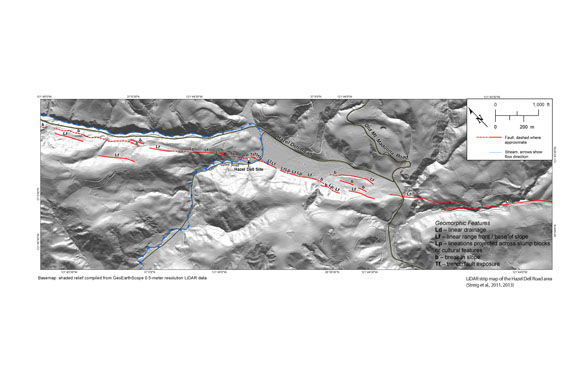 LiDAR strip map of the Hazel Dell Road area. Basemap shaded relief compiled from GeoEarthScope 0.5 meter resolution LiDAR data. Courtesy of A. R. Streig, from Streig et al., USGS NEHRP final technical report, 2011 and 2013