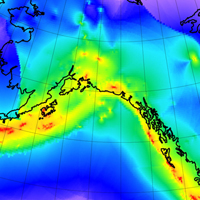 Earthquake rates forecast for years 2014 and after, at magnitudes 5.8 and greater, and depths of 70 km or less, in the Alaska-British Columbia region.  Detail from the GEAR1 global model.  Color indicates the common logarithm of the epicenter rate density in SI units of m-2 s-1. Credit: Peter Bird.