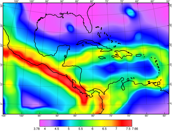 Earthquake magnitude which is forecast to have the rate of 0.01/year in years 2014 and after, within a local radius of 100 km about each test point, and considering only shallow hypocenters no deeper than 70 km.  Detail of the Central America-Caribbean region, from the GEAR1 global model. Credit: Peter Bird.
