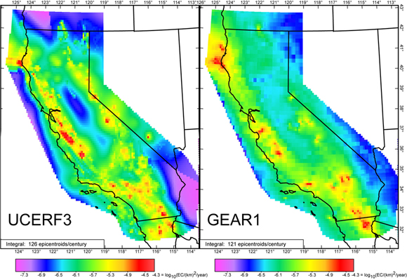 Comparison of shallow earthquake rates forecast for the California region, at magnitudes 5.8 and greater, from (left) the UCERF3 forecast of Field et al. [2013] and, (right) the GEAR1 global forecast. Credit: Peter Bird.