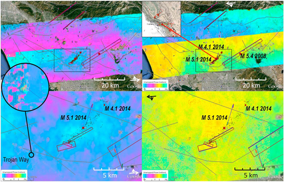 UAVSAR observations spanning the La Habra earthquake. The inset location map shows Southern California with the 2007 forecast for likely earthquakes shown as red areas. (top left) Northward looking lines with 08521 covering La Habra to the south and 08523 covering the San Gabriel Valley to the north. (top right) The southward looking lines with 26522 covering La Habra and 26524 covering the San Gabriel Valley. (bottom) The region around La Habra. The circle shows the detail of the Trojan Way kink band observed with UAVSAR. The discontinuity across the tracks is due to the ground elevation or look angle varying by 40° across the swath due to the aircraft flying at a much lower elevation than a spacecraft. The overlapping swaths cannot be matched without making assumptions about ground deformation. Credit: Andrea Donnellan.