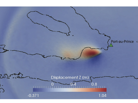 Snapshot of vertical displacement resulting from the simulation of the 2010 M7.0 Haiti earthquake. The black outlines show the north and south coastlines for the main peninsula and a nearby islet. Credit: Roby Douilly.