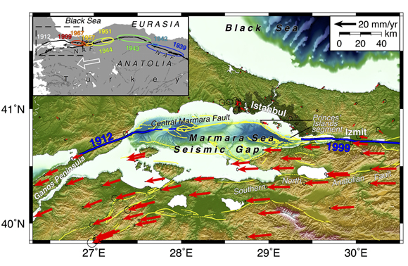 GPS velocities of stations within and near the Sea of Marmara (red arrows) and 95% confidence ellipses (black circles) plotted with respect to Eurasia. Bathymetry, faults (yellow lines, modified from Armijo et al., 2005) and area of rupture for the 1912 and 1999 earthquakes (blue lines) are indicated. The inset shows the 20th century, westward propagating sequence of major earthquakes originating on the NAF and the white arrow indicates the direction of motion of the Anatolian plate relative to Eurasia (modified from Toksöz et al., 1979, Barka, 1996, Stein et al., 1997). Credit: Semih Ergintav