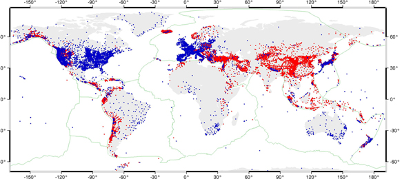 Locations of the 22,415 GPS velocity data that were used in this project. Blue dots are 6705 GPS station locations for which raw data were analyzed through this project and red dots are locations for 15,710 GPS velocities taken from the literature. Graphic courtesy of C.Kreemer.