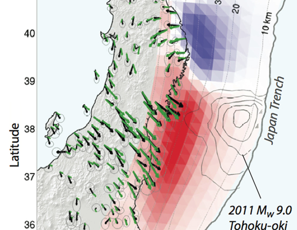 Map of GPS accelerations during the period 1996-2011 throughout northern Honshu, Japan, estimated from the time-series analysis (black arrows).  Colors show inferred slip acceleration on the Japan Trench subduction interface: red (positive acceleration) signifies increasing slip rate; blue (negative acceleration) signifies decreasing slip rate.  Green arrows are the model-predicted GPS accelerations.  Contours show the slip distribution of the 2011 M9 Tohoku-oki earthquake.  Credit: Andreas Mavrommatis.
