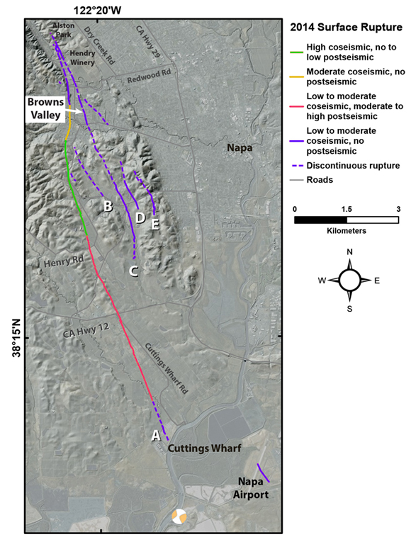 Map of surface rupture from field observation associated with 2014 South Napa Earthquake classified according to relative amounts of coseismic and postseismic slip. Figure courtesy of Stephen B. DeLong.